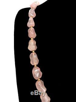 CHINESE ROSE QUARTZ Crystal Pink Knuckle Bone Necklace w Peach & Bird Pendant