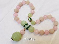 CHINESE VINTAGE CARVED JADE, Rose Quartz BEADS NECKLACE Pendant, Silver Clasp