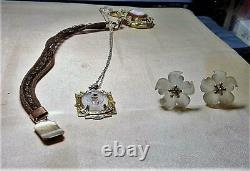 Camphor Glass Hand Painted Roses Gold & Silver Plated, Lavalier Sterling 20
