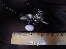 Carol Felley Grumpy Cat Necklace Sterling Silver With Rose Quartz Amethyst Stone