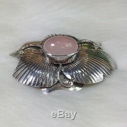 Carol Felley Rose Quartz Sterling Silver Huge Flower Brooch Pendant 1985