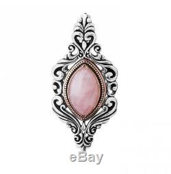 Carolyn Pollack Sterling Silver Mixed Metal Rose Quartz Pendant Enhancer