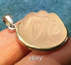 Carved Man in the Moon Face Rose Quartz Pendant in Sterling Silver-ts3 6 20