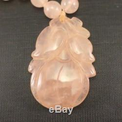 Carved Peach Pendant ROSE QUARTZ BEAD NECKLACE 31 Long & 120 Grams