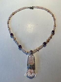 Carved Rose Quartz Elephant Ganesh 925 Silver Necklace Amethyst Pearl Shankari