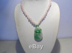 Carved apple green jade pendant on rosequartz beaqds neckllace/ silcer clasp
