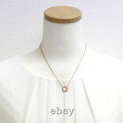 Chaumet K18PG Rose Quartz Diamond Pendant Necklace Class Swan Cruise Auth SELB