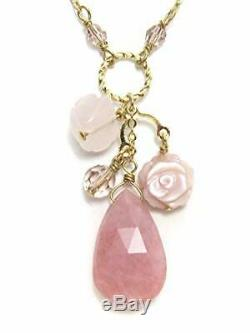 Cherry Pink Opal Rose Quartz Pink Shell rose pendant natural stone Power Stone