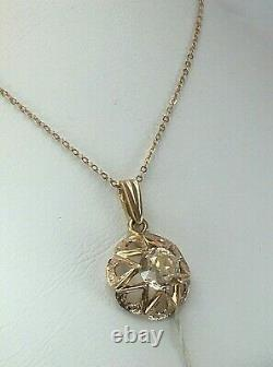 Chic Vintage Original Soviet Rose Gold Pendant with Rock Crystal 583 14K USSR