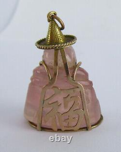 Chinese 14k Gold Mounted Rose Quartz Carved Buddha Charm Pendant, 1 Of Several