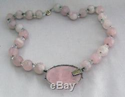 Chinese ROSE QUARTZ Carved Pendant and Shou Bead Sterling Silver NecklaceH074
