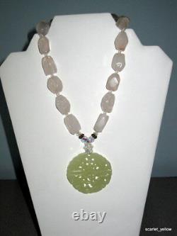 Chunky natural Rose Quartz Gemstone Necklace & Jade Pendant 16 strand necklace