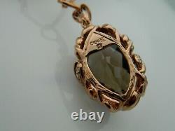 Clogau 9ct Rose Gold'Ar Dan' Smoky Quartz & Diamond Pendant RRP £1,540.00