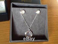 Clogau Silver & Gold Ripples Rose Quartz Pendant And Earrings Set