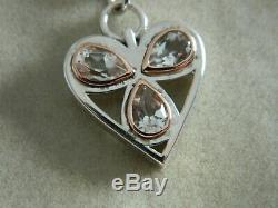 Clogau Sterling Silver & 9ct Rose Gold Heart of Wales Clear Quartz Pendant