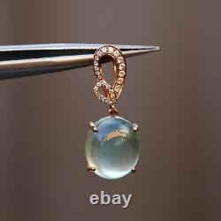 Coming soon Natural AAAAA Prehnite Withdiamonds 18K rose Gold PENDANT KG120