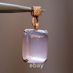 Coming soon Natural AAAAA Rose quatz Withdiamonds 18K rose Gold Pendant KG201