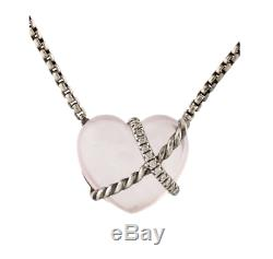 DAVID YURMAN Rose Quartz & Diamond Le Petit Coeur Sculpted Heart Necklace 17