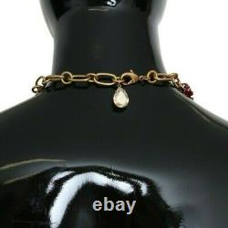 DOLCE & GABBANA Necklace Gold Brass Crystal Red Roses DG Pendants RRP $1500