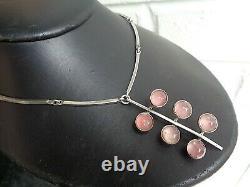 Danish Stg Silver & Rose Quartz Modernist Pendant 1970s N. E. From, Denmark
