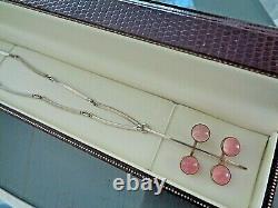 Danish Stg Silver & Rose Quartz Modernist Pendant h/m 1977 N. E. From, Denmark