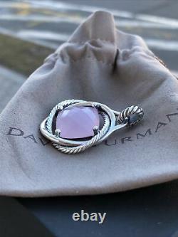 David Yurman 925 Silver 17x17mm Infinity Enhancer Pendant Rose Quartz