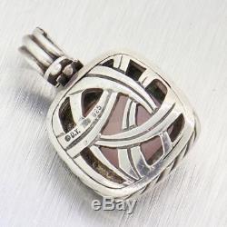 David Yurman Albion Enhancer Sterling Silver Rose Quartz Necklace Pendant Y8