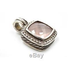David Yurman Albion Rose Quartz and Diamond Enhancer Pendant Sterling Silver