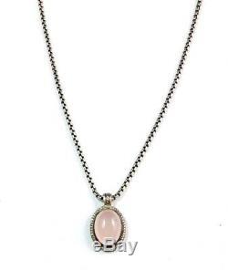 David Yurman Rose Quartz & Diamond Sterling Silver Oval Cerise Pendant Necklace