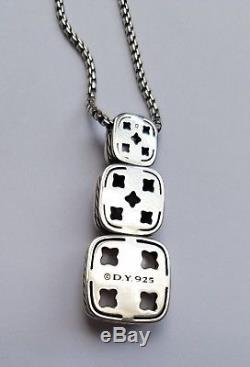 David Yurman Silver Chiclet Necklace Rose & Smoky Quartz Cognac Diamonds