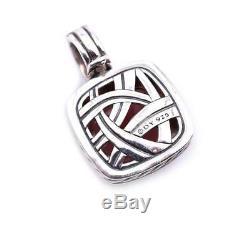 David Yurman Sterling Silver Cable Rose Quartz and Diamond Pendant