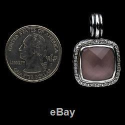 David Yurman Sterling Silver Cushion Rose Quartz & Diamond Albion Pendant 14mm