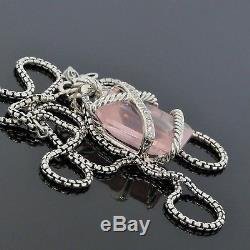 David Yurman Sterling Silver Diamond Rose Quartz Cable Wrap Pendant Necklace