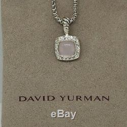 David Yurman Sterling Silver Petite Albion Rose Quartz Diamond Pendant & Chain