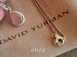 David Yurman Sterling Silver Rose Quartz Enhancer Pendant Necklace 16/17 Adj