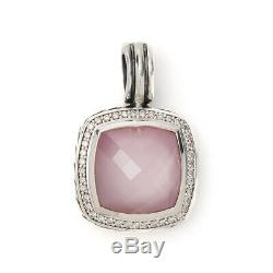 David Yurman Sterling silver Rose Quartz and Diamond Albion Cable Pendant 1.25