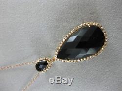 Designer Diamond Smokey Quartz 18k Rose Gold Pave Halo Pear Pendant 18 Pn8187kd