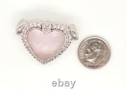 Designer Judith Ripka Sterling Silver Pink Rose Quartz Heart & Pink CZ Pendant