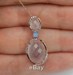 Diamond and Rose Quartz Necklace Pendant 18 Rose Gold Chain Unique Wedding Gift