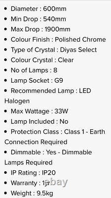 Diyas chandelier Maddison Pendant Round 8 Light G9 Rose Gold Crystal IL31716