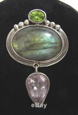 Echo of the Dreamer Peridot Labradorite Rose Quartz Sterling Silver Pin/ Pendant