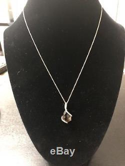 Effy BH Smoky Quartz And Diamond Pendant Necklace 14k Rose Gold New