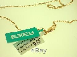 Effy Design 14k Gold Necklace 0.16ctw Diamonds & Rose Quartz Pendant Retail$2900