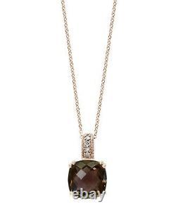 Effy Jewelry Smoky Quartz & Diamond Square Pendant in 14K Rose Gold, 3.68 TWC