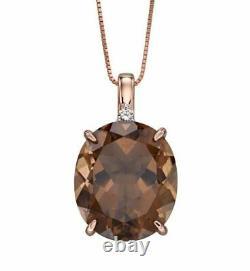 Elements 9 ct rose gold diamond and smoky quartz pendant