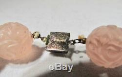 Estate Art Deco Vintage Chinese Pink Rose Quartz Sterling Silver Necklace K960