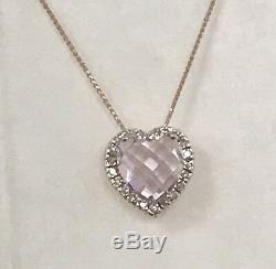 Estate Heart Shaped Rose Quartz And Diamond Pendant In 14k Rose Gold