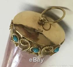 Estate Jewelry Rose Quartz Turquoise Arm Fist Pendant 18K Yellow Gold 3.5 Long