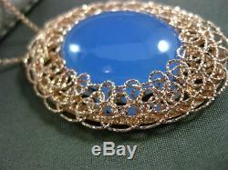 Estate Large Blue Quartz 14k Rose Gold Diamond Cut Filigree Oval Pendant & Chain
