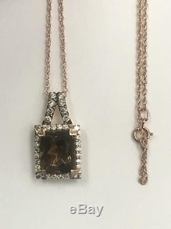 Estate LeVian Chocolate Quartz And Diamond Pendant In 14k Rose Gold With 16 Chain